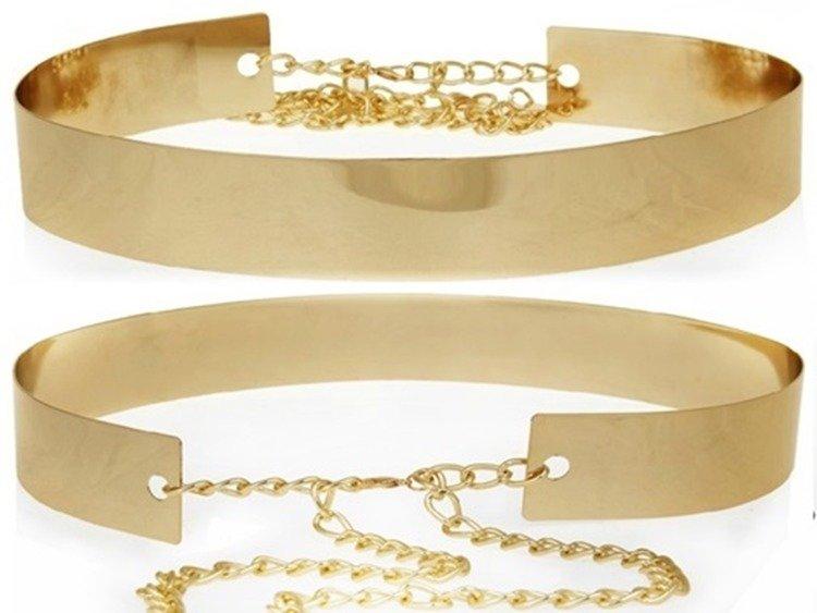 82cadc01a1dab6 Metalowy pasek zapinany na łańcuszek — złota blacha